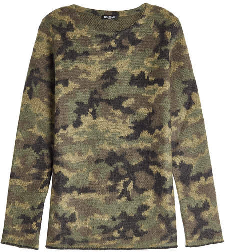 Balmain Camouflage Print Pullover with Mohair Wool