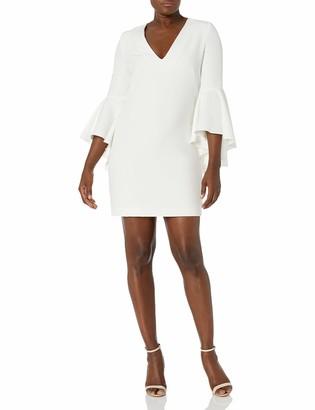 Milly Women's Italian Cady V-Neck Bell Sleeve Mini Dress