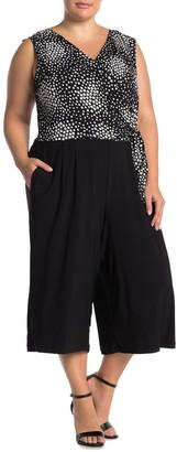 Nina Leonard Sleeveless V-Neck Wrap Front Jumpsuit (Plus Size)