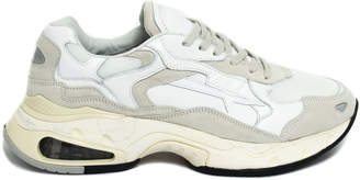 Premiata White Calf Leather And Suede Sharky Sneakers