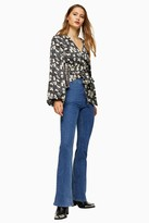 Topshop TALL Black Scribble Tulip Print Tiered Blouse