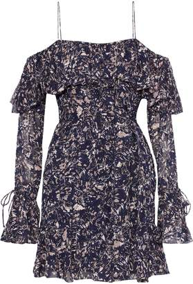 Derek Lam 10 Crosby Cold-shoulder Printed Fil Coupe Silk And Cotton-blend Mini Dress