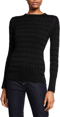 Neiman Marcus Metallic Cashmere Crewneck Cable Sweater