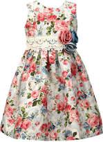 Jayne Copeland Floral-Print Lace-Belt Dress, Toddler Girls
