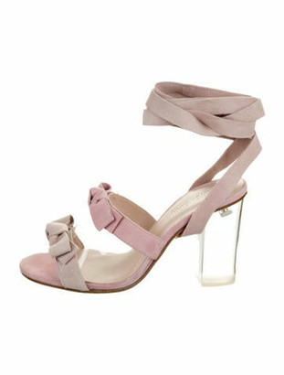 Ritch Erani NYFC Suede Bow-Accented Sandals w/ Tags Pink Suede Bow-Accented Sandals w/ Tags