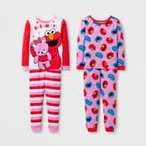 Sesame Street Toddler Girls' 4-Piece Pajama Set - Red