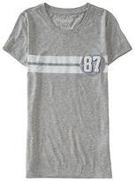 Aeropostale Womens Chenille 87 Racing Stripe Graphic T Shirt Gray