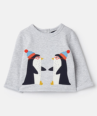 Joules Boys' Pullover Sweaters - Gray Penguin Boo Swing Sweatshirt - Newborn & Infant