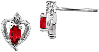 FINE JEWELRY Diamond Accent Oval & Lab-Created Ruby Sterling Silver Stud Earrings