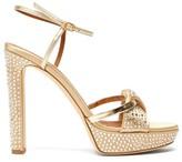 Malone Souliers Lauren Crystal-embellished Satin Platform Sandals - Womens - Gold