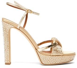 Malone Souliers Lauren Crystal-embellished Satin Platform Sandals - Gold