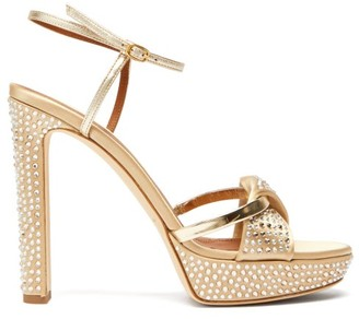 Malone Souliers Lauren Crystal Embellished Satin Platform Sandals - Womens - Gold