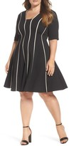 Gabby Skye Plus Size Women's Contrast Piping Knit Fit & Flare Dress