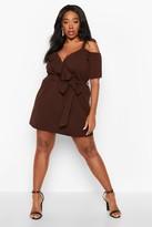 boohoo Plus Plunge Ruffle Belted Mini Dress