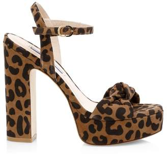 Stuart Weitzman Mirri Cheetah-Print Leather Platform Sandals