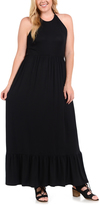 Bellino Black Ruffle-Hem Halter Maxi Dress - Plus