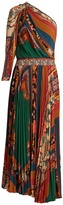 Etro Julsung patchwork-print one-shoulder pleated gown