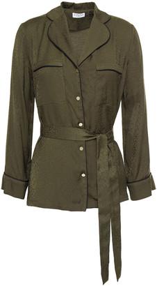 Claudie Pierlot Belted Satin-jacquard Shirt