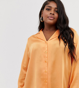 Asos DESIGN Curve relaxed satin long sleeve shirt-Orange