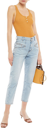 Current/Elliott The Helix Cropped High-rise Straight-leg Jeans