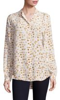 Joie Henri Gems & Insect Print Long Sleeve Silk Blouse