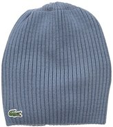 Lacoste Men's Green Croc Ribbed Wool Knit Beanie
