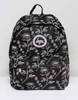 Hype Backpack In Black With Floral Print