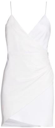 Alice + Olivia Ashanti Leather Faux-Wrap Zip Mini Dress