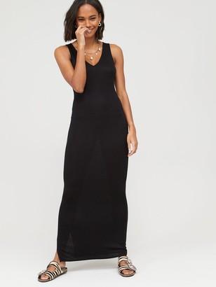 Very V-Neck Jersey Maxi Dress - Black