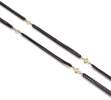 """Armenta 18K Yellow Gold and Blackened Sterling Silver Old World Triple Strand Cravelli Cross Station Necklace, 36"""""""