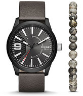 Diesel Rasp Three-Hand Leather-Strap Watch Gift Set