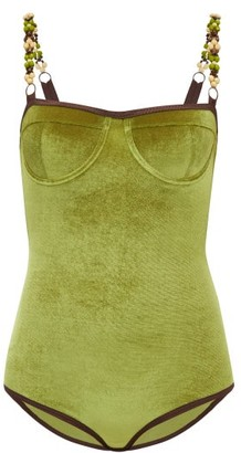 Ami Muse Studio - Beaded Velvet Bodysuit - Green