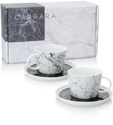 Oliver Bonas Carrara Set of Two Marble Teacups & Saucers