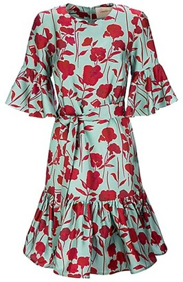 La DoubleJ Floral Twill Silk Swing Dress