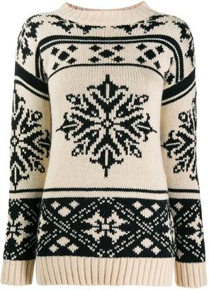Semi-Couture Semicouture snow flakes intarsia jumper