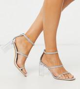 clear Co Wren Wide Fit embellished block heel sandals in silver