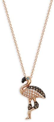 Effy 14K Rose Gold Diamond Flamingo Pendant Necklace