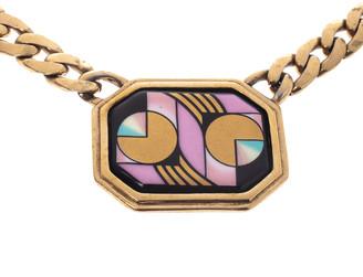 Frey Wille Vintage Multicolor Fire Enamel Chain Link Pendant Necklace