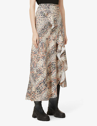 AllSaints Raya Arietta animal-print cotton-blend midi skirt