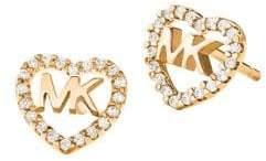 Michael Kors 14K Goldplated Sterling Silver & Crystal Logo Heart Stud Earrings