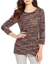 ZOZO Rhythm Scoop Neck 3/4 Sleeve Tape Yarn Sweater