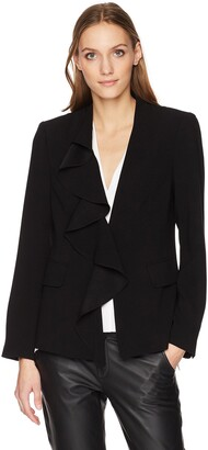 Nanette Lepore Women's Final Act Ruffle Front Crepe Blazer Jacket