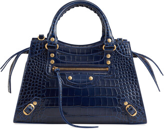 Balenciaga Neo Classic City Moc-Croc Small Satchel Bag
