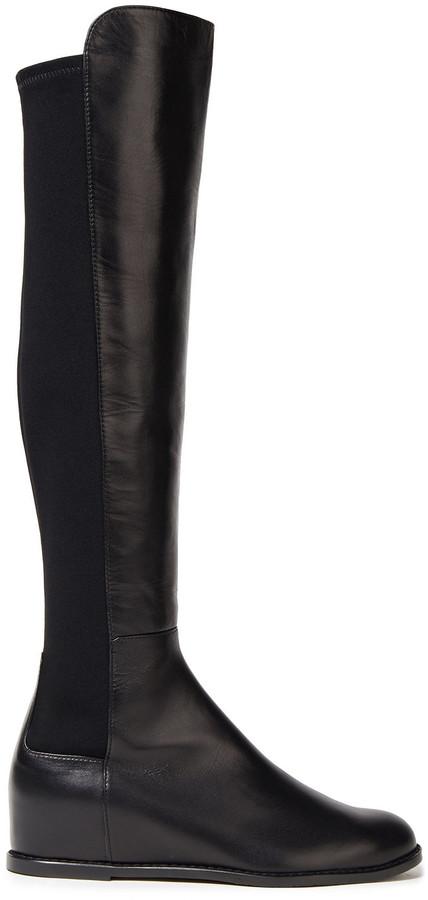 Stuart Weitzman Mainline Leather And Neoprene Knee Boots