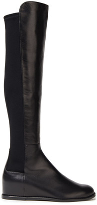 Stuart Weitzman Mainline Leather And Neoprene Knee Boots