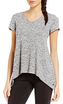 Calvin Klein Marled Knit Jersey Double V-Neck Top