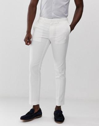 Burton Menswear skinny fit linen suit trousers in ecru