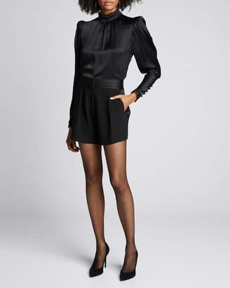 Frame High-Rise Tuxedo Shorts