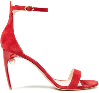 Nicholas Kirkwood Mia Faux Pearl-embellished Suede Sandals