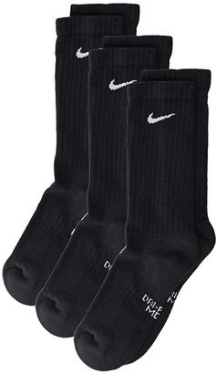 Nike Performance Cushioned Crew Training Socks 3-Pair Pack (Little Kid/Big Kid) (Black/White) Kids Shoes